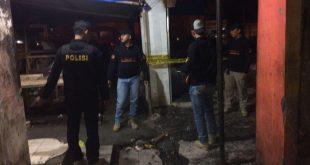 Personil Polres Serang masih terus berjaga di lokasi kebakaran Pasar Ciruas